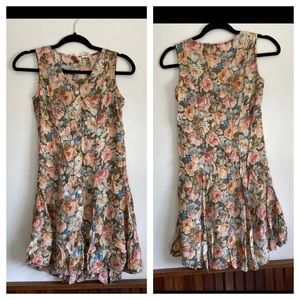 Vintage button down floral dress xs